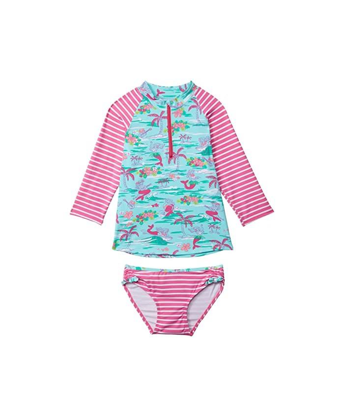 Hatley Kids Tropical Mermaids Rashguard Set (Toddler\u002FLittle Kids\u002FBig Kids)