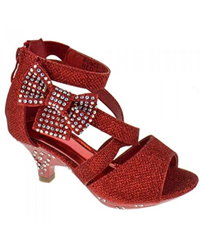 Belle Marie Ponce 10 Little Girls Glitter Rhinestone Heeled Dress Sandals