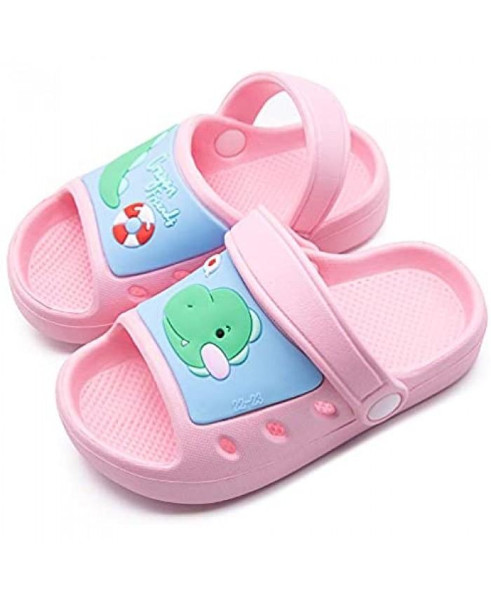Boys Girls Beach Pool Slide Sandals Toddler Little Kids Unicorn Dinosaur Water Shoes Open Toe Sandals with Heel Strap