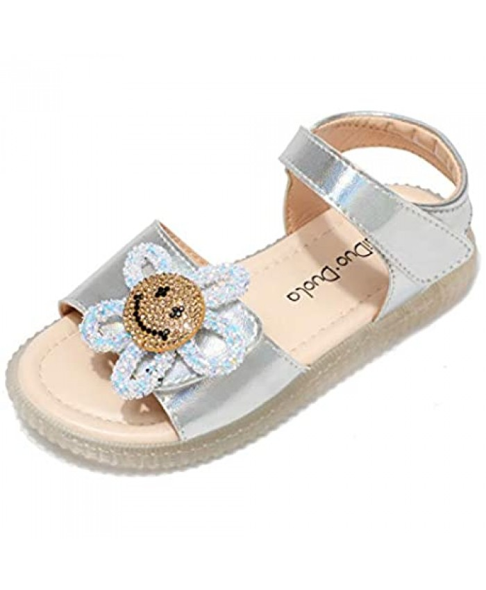 Maiduo.Duola Girls Sandals Open Toe Princess Flat Sandals with smiley Summer Sandals (Little Kid/Big Kid) silver