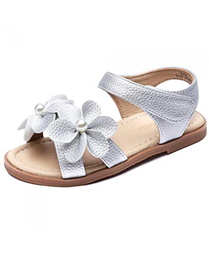 Minibella Girls Open Toe Flower Princess Flat Shoes Summer Sandals