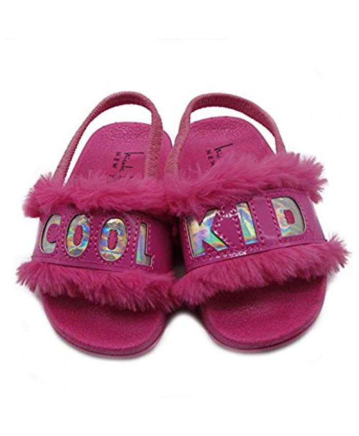 Nicole Miller New York Toddler and Little Girls Faux Fur Slide Sandals