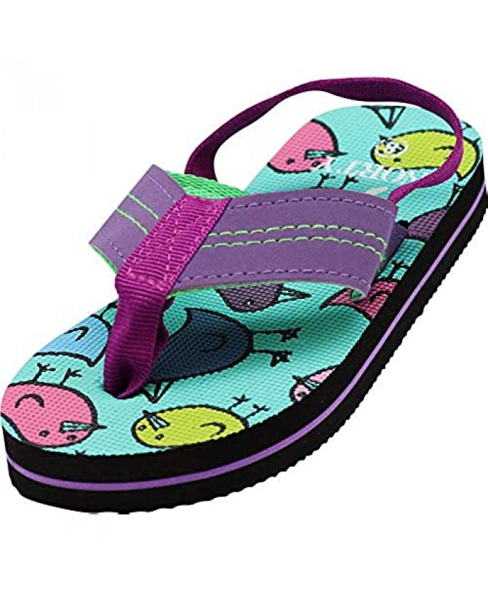 NORTY - Boys and Girls Flip Flops Sandals with Back Strap for Toddler Little Kid