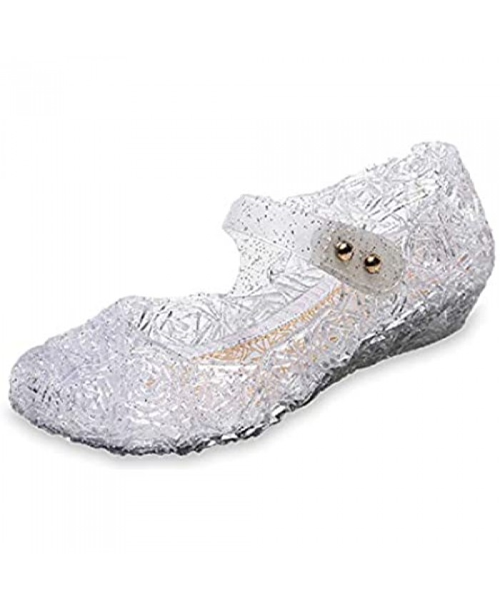 Princess Jelly Shoes Sandals for Toddler Girls Dress Up Cosplay Sandals Summer Cute Little Kids Glitter Sparkle High Heel Party Dancing Mary Jane