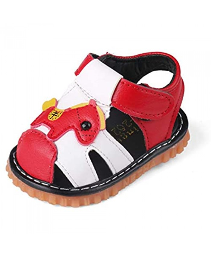 QIETION Toddler Boys Girls Squeaky Sandals Pony Soft Microfiber PU Closed Toe Summer Shoes