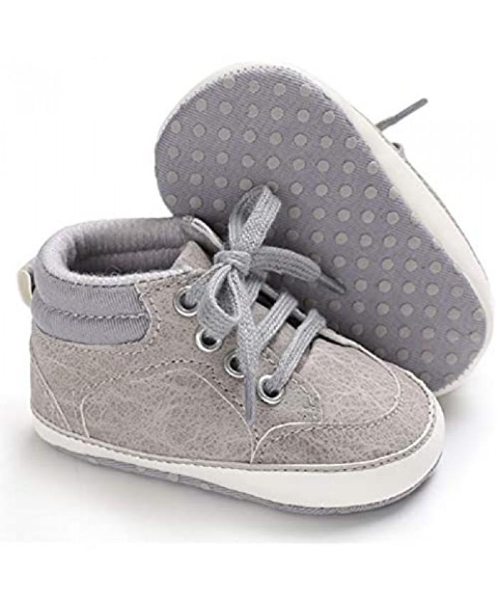 Meckior Newborn Infant Baby Girls Boys Sequin Canvas Sneakers Soft Anti-Slip Sole High Top Ankle Unisex Toddler First Walking Prewalker Crib Denim Shoes