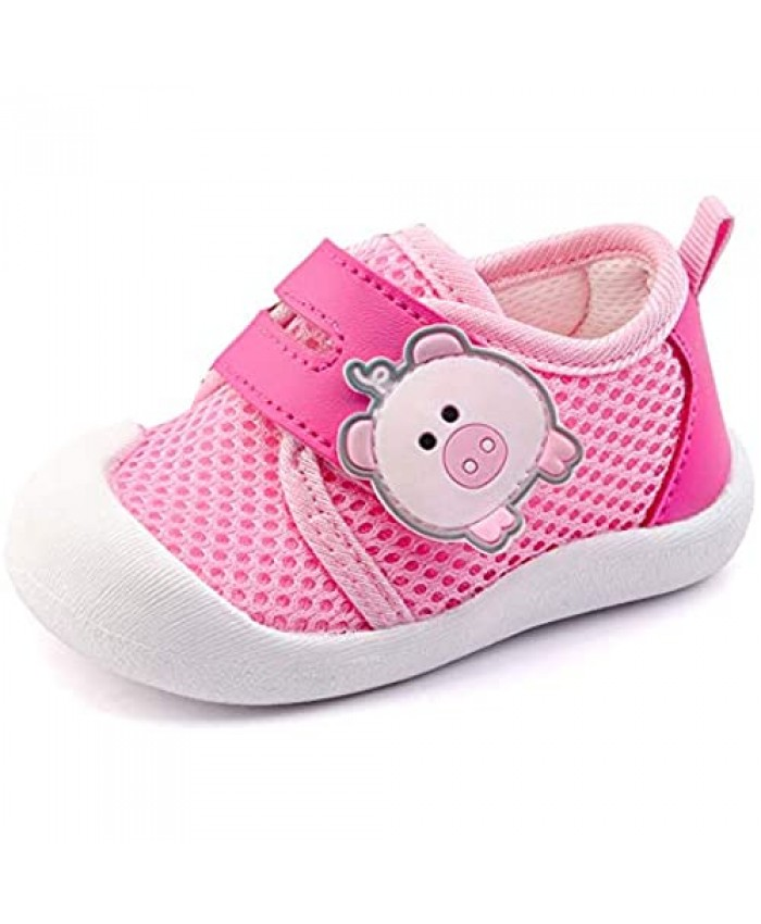 QGAKAGO Baby Girls Breathable Mesh Upper Rubber Sole Non-Slip Running Sneakers First Walkers Shoes