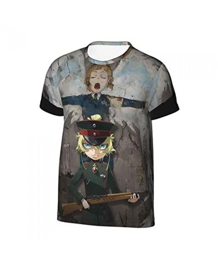 Zsrgvdrf Saga of Tanya The Evil 3D Print Boys' T-Shirts Boys Sport Sarcastic Short Sleeve Tees