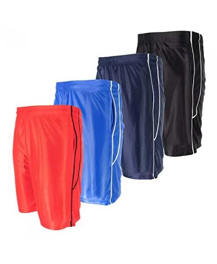 High Energy Boys Basketball Shorts with Pockets 4 Pack Quick Dry Mesh Athletic Sports Wear Active Wear