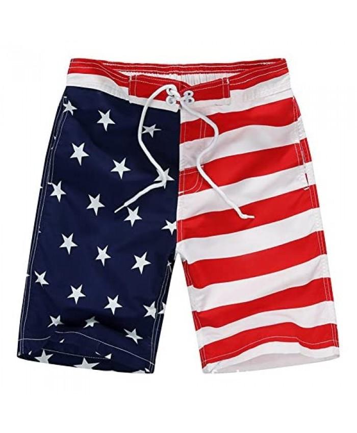 Aulase Kids Boys Classic American Flag Swim Trunks Drawstring Stripe Boardshorts with Pockets