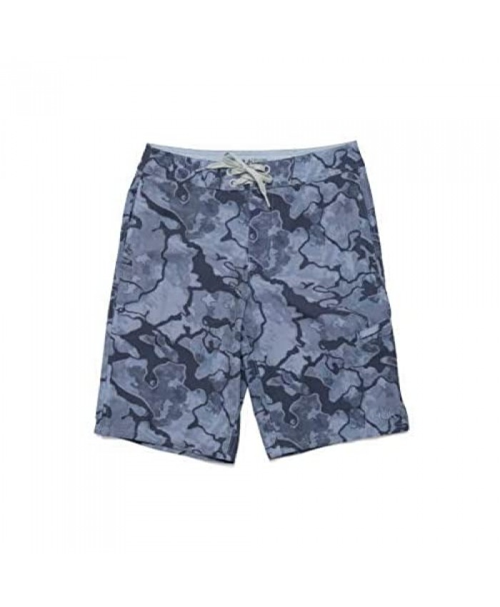 HUK Kids' Outrigger Print Board Quick-Drying Fishing & Swimming Shorts with UPF 30+ Sun Protection