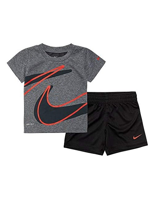 Nike Baby Boys' Dri-Fit 2-Piece Shorts Set Outfit - Black(76E526-023)/Red 24 Months