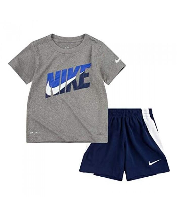 Nike Boy`s Dri-Fit T-Shirt & Shorts 2 Piece Set (Midnight Navy(76G054-U90)/Grey 2T)