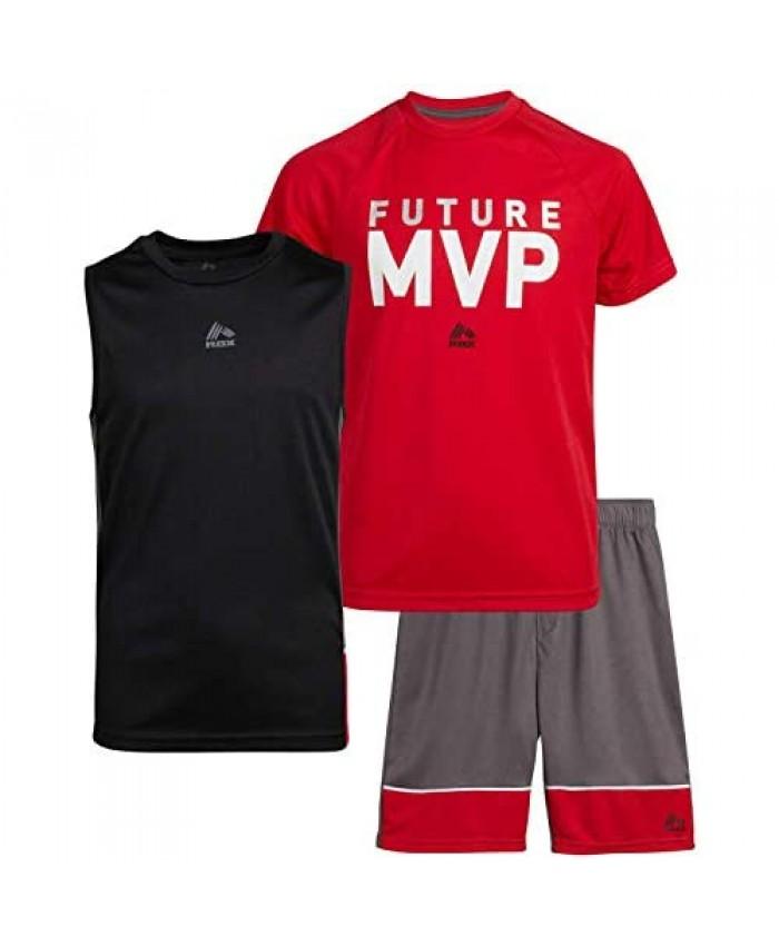 RBX Boys Active 3-Piece Short Set - Basketball Performance Activewear Set