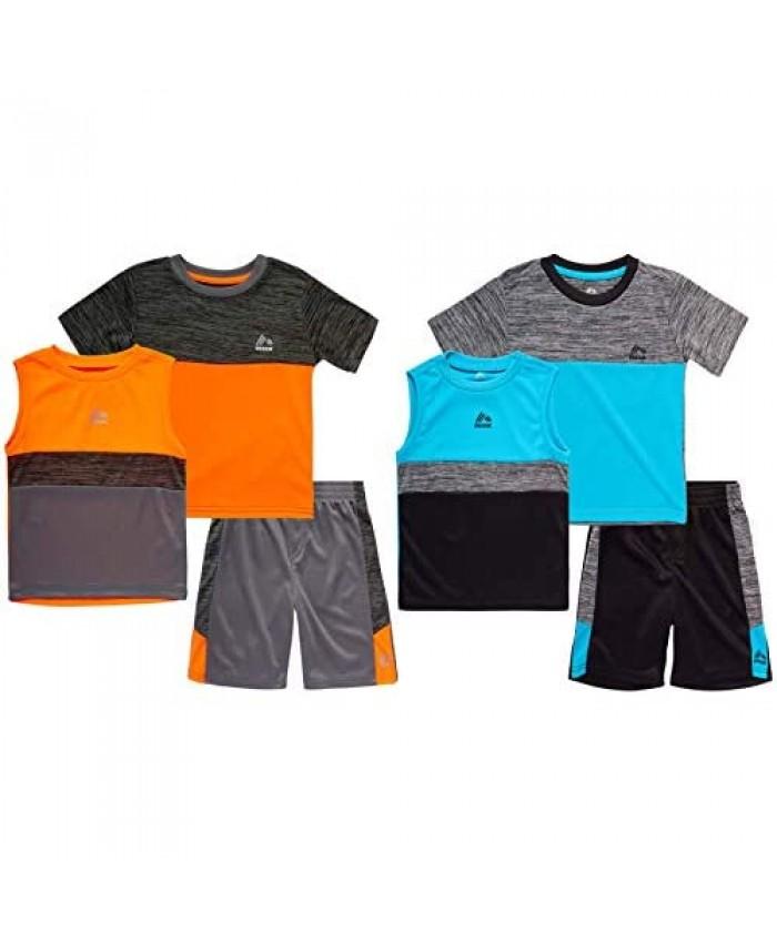 RBX Toddler Boys' Active Shorts Set - Short Sleeve T-Shirt Tank Top and Shorts Performance Playwear Set (2 Pack)