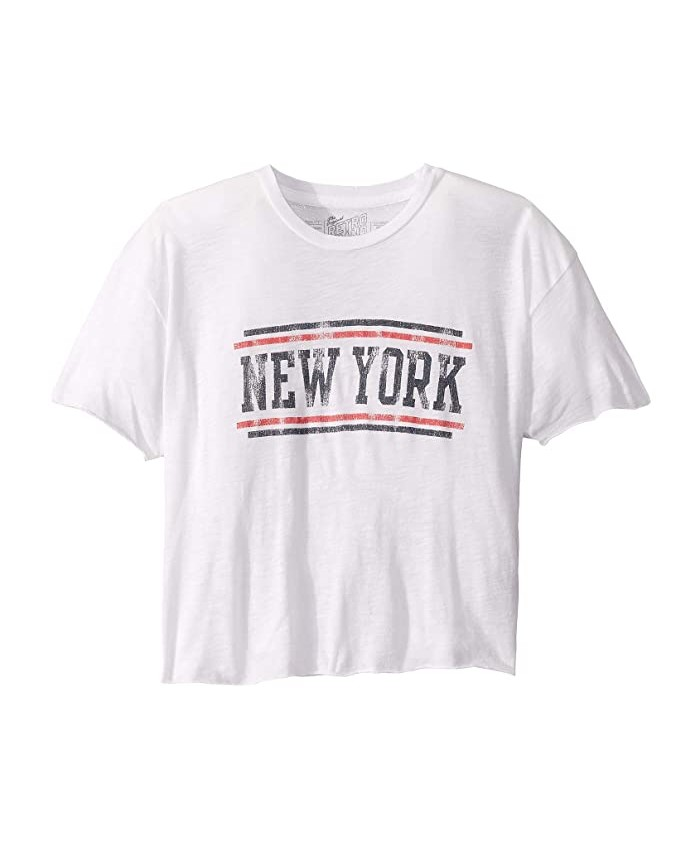 The Original Retro Brand Kids Vintage Slub Cotton Raw Edge New York Tee (Big Kids)