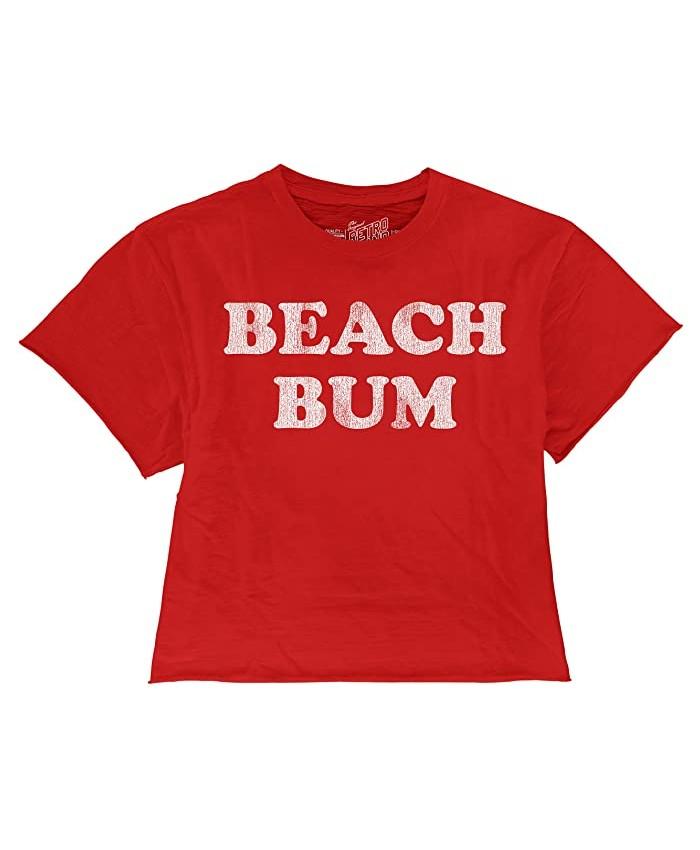 The Original Retro Brand Kids Beach Bum Raw Edge Slub Slightly Cropped Tee (Big Kids)