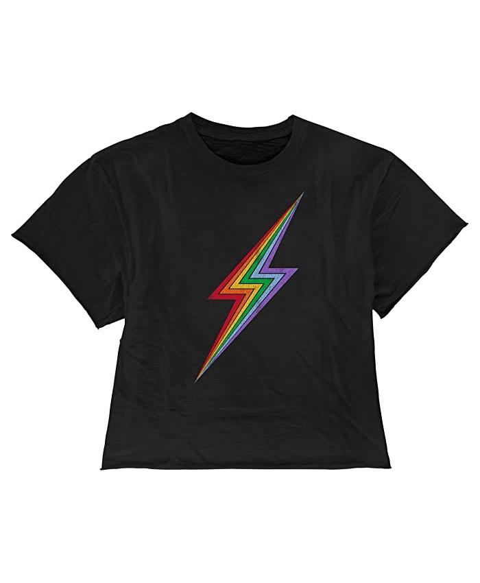 The Original Retro Brand Kids Rainbow Lightning Raw Edge Slub Slightly Cropped Tee (Big Kids)